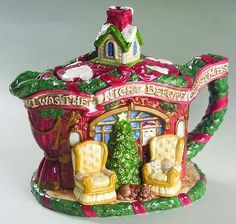"Our ""Night Before Christmas""  Fitz and Floyd teapot-"