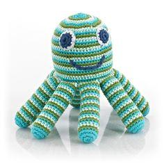Gehäkelte Rassel Octopus blau/grün 14cm