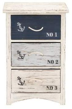 Benzara The Cool Wood Nautical Chest Wood Nautical Chest. A Most Wonderful Creation, This Chest Has Three Drawers That Are All Colored Differently. With An Anchor Printed On Their Surfaces, These Chests Have Been Designed With The Nautical Them In Mind #ad #nautical #beachhouse #interiordesign