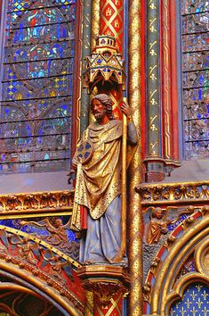 Sainte Chapelle - Detail Sculpture Mur Nord Un apotre - Paris Sainte Chapelle Paris, Saint Chapelle, Saint Michael, Beautiful Paris, I Love Paris, Paris Travel, France Travel, Monuments, Paris France