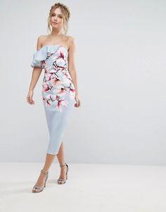 True Violet Asymmetric One Shoulder Dress In Floral Print