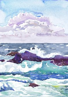 Landscape painting, Cloud art print, watercolor, Seascape wall art , ocean Décor, nautical prints, beach art, cloud print, Val Ra, wave   Cloud&sea high