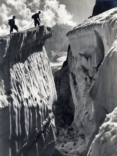 """© Georges Tairraz, ca. 1900s, Chamonix, Montagne  """"When you stare into the abyss the abyss stares back at you."""" ― Friedrich Nietzsche"""