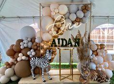 Balloon Garland, Balloon Decorations, Balloons, Safari Party, Safari Theme, 1st Birthday Parties, Birthday Ideas, Sweetest Thing, Animal Party