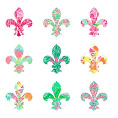 Lilly Pulitzer Fleur de Lis - I want this as a car sticker. Lilly Pulitzer, Kappa Kappa Gamma, Owl, Shabby, Southern Charm, Decoration, Spring, Pink And Green, Print Patterns