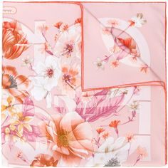 Salvatore Ferragamo Gancio floral print scarf ($390) ❤ liked on Polyvore featuring accessories, scarves, pink, floral shawl, silk scarves, floral print scarves, pink scarves and pink shawl
