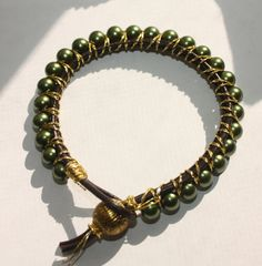 HandMade Green Pearl Beaded Leather Bracelet with by EPVDesign, $15.00