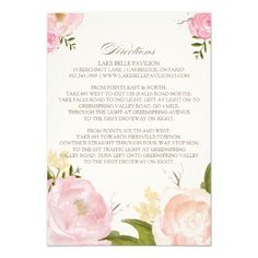 Romantic Watercolor Flowers Directions Card Personalized Announcement