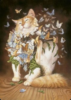 Itching Butterflies Cat Art by Heidi Taillefer Art And Illustration, Illustrations, Crazy Cat Lady, Crazy Cats, Gatos Cats, Photo Chat, Cat Drawing, Psychedelic Art, Surreal Art