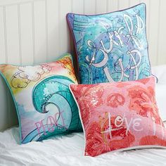 Surf N Sand Pillow Cover #potterybarnteen These are boho, plus girly, and surfed out.