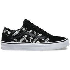 Vans Fair Isle Old Skool ($60) ❤ liked on Polyvore featuring shoes, sneakers, black, low profile sneakers, cap toe sneakers, low top skate shoes, black cap toe shoes and vans trainers