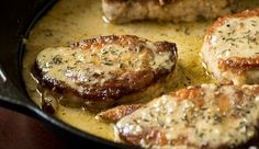 Creamy Lemon Thyme Pork Chops--If you can get this recipe right (as in not letting the dredging come off in the bottom of the pan), this recipe is amazing! But it is definitely a delicious pork chop recipe! Pork Chop Recipes, Meat Recipes, Chicken Recipes, Cooking Recipes, Recipies, Comfort Food, Pork Dishes, Pork Chops, Main Dishes