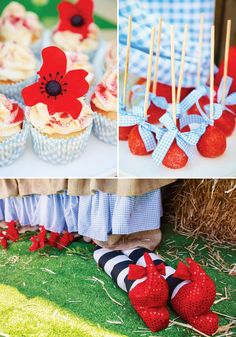 red poppies and witches feet wizard of oz dessert table