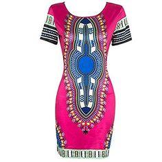 fd9a9cc8e7d5 Maternity Dresses - AmyDong Womens Dress Women Traditional African Print  Dashiki Bodycon Sexy Short Sleeve Dress