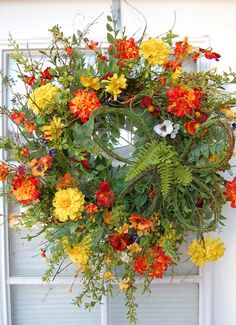 Spring and Summer Wreath by HangingTouches on Etsy
