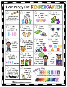 KINDERGARTEN READINESS CHECKLIST - what children need to know and curriculum free activities