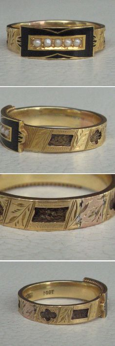 Victorian mourning ring in 15 carat gold. The features a black enamel rectangular shape with an open window to display 5 seed pearls of lustrous creamy white. Behind this enamel envelope face are fine granulation designs above and below, a fine detail only visible from various angles. http://www.rubylane.com/item/596915-PT00098/Victorian-Enamel-Hair-Seed-Pearl