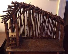 Large Rustic Vintage Nativity Stable Crèche Wood Tree Twigs Branches Primitive