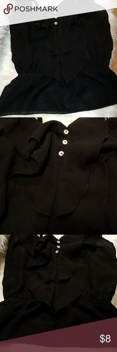 Charlotte Russe shirt Black ruffled shirt with pearl colored buttons. Has an elastic midsection Charlotte Russe Tops Camisoles