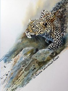 "*Watercolor - ""Stalking Leopard"" (by Karen Laurence-Rowe)"