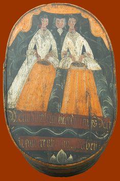 Antique Paint Decorated Bride's Box or Spanschachteln