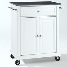 White Kitchen Cart with Granite Top and Locking Casters Wheels                                                                                                                                                                                 More