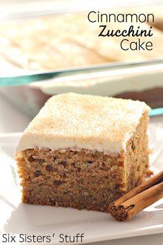 Cinnamon Zucchini Cake Recipe on SixSistersStuff.com