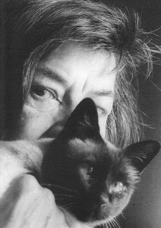Patricia Highsmith — photo by Lore Bermbach I Love Cats, Cool Cats, Patricia Highsmith, Celebrities With Cats, Celebs, Cat Years, Cat With Blue Eyes, Kids Fashion Photography, Cats For Sale