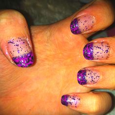 Purple cheetah nail tips with glitter (: