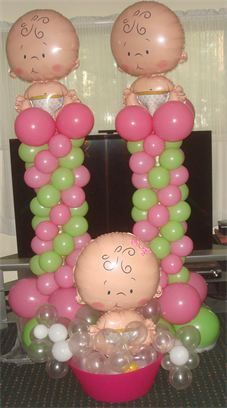 Baby Shower Decorations, Balloon Columns, Baby Shower Balloon Centerpieces, Long Island