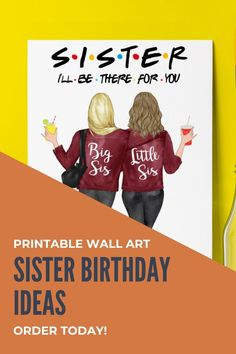 Can't figure out what to buy for your sister's birthday? Why not create a one of a kind printable wall art? This piece of wall art make a great gift for your sister. Click the link and start creating a personalized gift from your heart. Gifts For Your Sister, Birthday Gifts For Sister, Unique Birthday Gifts, Best Friend Birthday, Sister Gifts, Gifts For Family, Little Sis, As You Like, Printable Wall Art