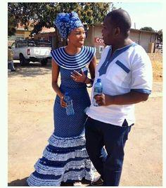 shweshwe dresses 2016 Archives - style you 7 Couples African Outfits, African Dresses For Women, African Attire, African Wear, African Fashion Dresses, African Style, Setswana Traditional Dresses, South African Traditional Dresses, Traditional Wedding Attire