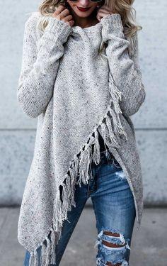 $52.99!  2017 Grey Tassel Asymmetrical Hem Shawl Speckled Fringe Cardigan. Fall Fashion can't miss it Outfit Travel Trend Best Selling Online Store ---J