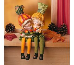 "2 sedící figurky ""Dýňové děti"" 