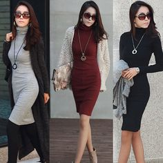 Winter Ladies Split Knitted Sweater Jumper Pullover Knitwear Long Mini Dress Top in Clothes, Shoes & Accessories, Women's Clothing, Dresses | eBay