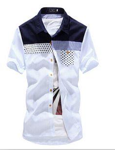 Summer Fashion Patchwork Splice Casual Men's Short Sleeve Shirt