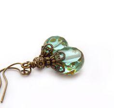 Aqua Drop Earrings Picasso Glass Summer by RockStoneTreasures, $32.00