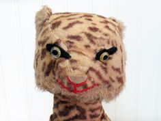 1950s Handmade Stuffed Cheetah Toy Primitive Kids Decor Bashful Cat by KentonCollectibles on Etsy