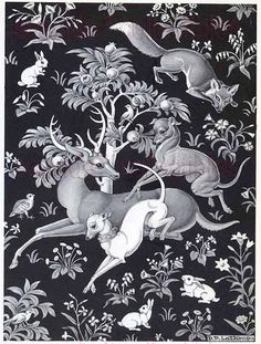 Greyhound Plays w/ White Dog Rabbits Fox Deer in Celtic Tapestry Setting 1stED Book Plate Illustration by Dorothy P. Lathrop Animals at Play