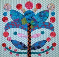 Elizabeth's Lollypop Trees Quilt Flower Applique Patterns, Cat Quilt Patterns, Hand Applique, Applique Quilts, Applique Ideas, Block Patterns, Applique Designs, Blue Quilts, Scrappy Quilts