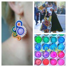 Pendientes diseñados y elaborados por La Niña Alhajas #colores#soutache#handmadejewelry#spring2015#colores#colours#orange#blue#yelow#pink#green#spain#andalusia
