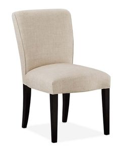 "Fitzgerald Dining Side Chair, Williams-Sonoma  $249  21""W x 26""D x 34""H Seat width: 21"" at front; 18"" at back Seat depth: 20""  Seat height: 20"" Seat back height: 14"" Distance leg to leg: 19"" (side to side); 22"" (front to back)        Weight: 20 lb."