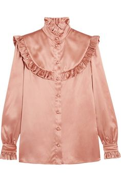 Saint Laurent's blouse has been cut in Italy from lustrous silk-satin in a soft…