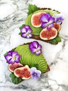 Avocado toast, parsley, figs and edible flowers