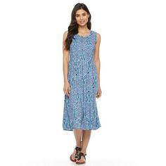 Petite Croft & Barrow® Smocked Challis Dress, Women's, Size: