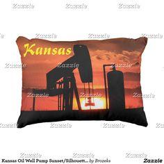 Kansas Oil Well Pump Sunset/Silhouette Pillow