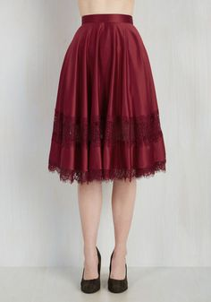 My Kind of Twirl Skirt in Ruby - Red, Solid, Lace, Casual, Vintage Inspired, French / Victorian, Full, Fall, Satin, Variation, Woven, Lace, Mid-length
