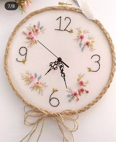 floral embroidery Embroidered clock for craft room Hand Embroidery Videos, Embroidery Hoop Crafts, Floral Embroidery Patterns, Creative Embroidery, Hand Embroidery Stitches, Learn Embroidery, Hand Embroidery Designs, Ribbon Embroidery, Cross Stitch Embroidery