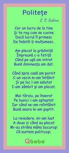 Politete Kids Poems, Good Manners, Kids Education, Art For Kids, Kindergarten, Classroom, Activities, Homeschooling, Romania