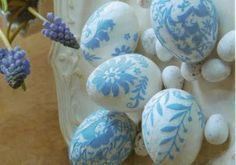 decoupage eggs using patterned paper applied to polystyrene eggs